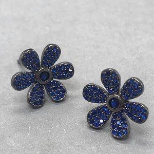 Sapphire CZ Sterling Silver Flower Earrings,NWT
